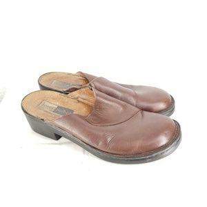 B56 Josef Seibel Brown Leather Mules Shoe Sz 7.5